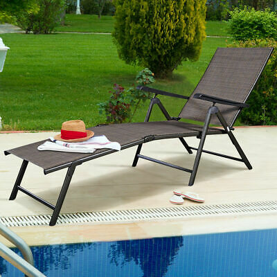 Pool Chaise Lounge Chair Recliner Outdoor Patio Furniture Adjustable New