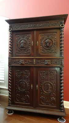 Antique FRENCH Carved Oak Barley Twist CABINET ARMOIRE SIDEBOARD Renaissance