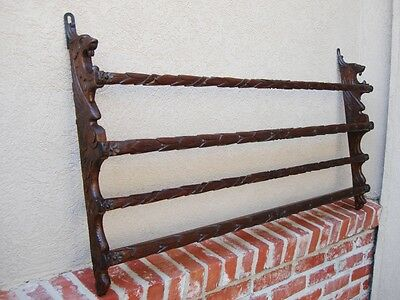 Antique English Victorian GOTHIC Carved Oak Wall Shelf PLATE Rack Black Forest
