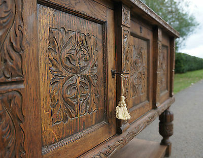 PROFUSELY CARVED OAK ANTIQUE GOTHIC 1920s 30s EARLY 20THC SIDEBOARD DRESSER BASE