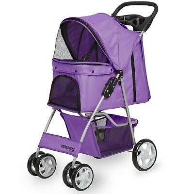 OxGord Pet Stroller Cat Dog 4 Wheeler Stroller Travel Folding Carrier Purple