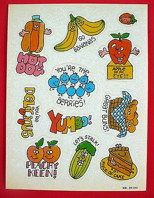 Vintage 1985 Paper Art Silly Food 11 Stickers 1 Sheet Yumbo Peachy Keen