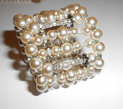 Amazing Rare Bracelet Signed Miriam Haskell Wide Pearl Cuff Crystals Rhinestones