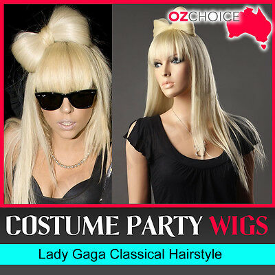 New Deluxe Lady Gaga Style Wig Blonde Straight Hair Costume Party Women Bow Wigs