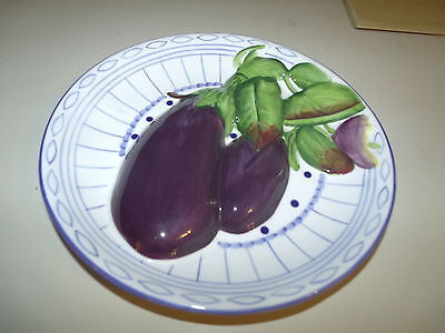 Andrea By Sadek Vegetable Eggplant Plant Purple Blue Green Decorative Plate Dish