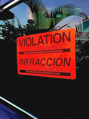 50 PARKING VIOLATION STICKERS (Wholesale) FOR CAR WINDOWS ☀PROHIBIDO ESTACIONAR☀