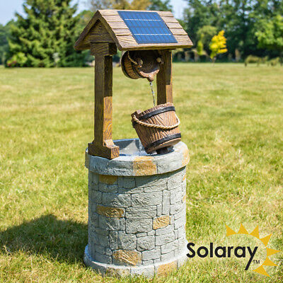 Wishing Well Solar Powered Water Feature Bucket Fountain Self Contained Outdoor