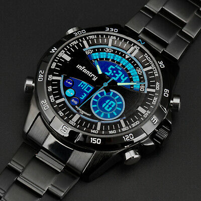 INFANTRY Mens Digital Quartz Wrist Watch Chronograph Sport Black Stainless Steel