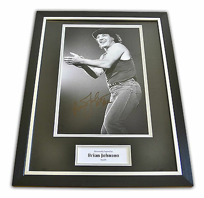 Brian Johnson Signed Framed Photo 12x16 Autograph AC/DC Memorabilia Display +COA