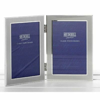Plain Silver Satin Twin 2 Picture Folding Photo Frame New Home Gift Decorations