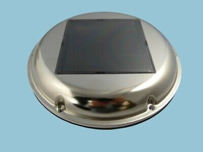 Solar Vent or Fan, Day & Night, Stainless Steel, Caravan, Boat, Greenhouse, Shed