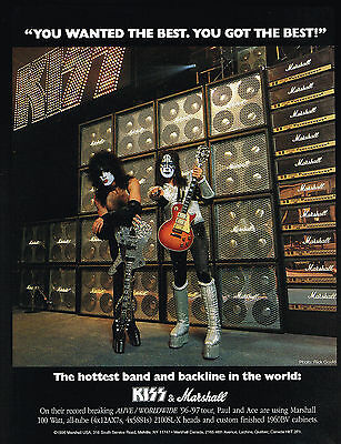 1997 KISS Paul Stanley Ace Frehley Photo Marshall Guitar Amplifiers Print Ad