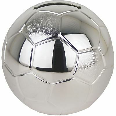 Silver Plated Football Money Box Christening Birth Christmas Gift Boy Or Girl