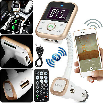 Car Wireless Bluetooth Remote FM Radio Transmitter USB SD MP3 Player Charger Kit