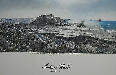Indian Rock Narragansett Picturesque America 1974 Color Re Print Haseltine Hunt
