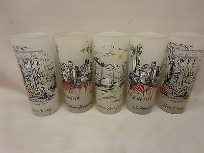 Libbey Glasses Plantation Scenes Set of 5 Ice Tea Tumblers High Ball Frosted