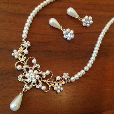 Classic Luxury Cream Pearl Crystal Gold Lace Metal Pendant Necklace Earrings Set
