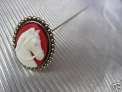 WHITE HORSE ON RED CAMEO IN SILVER FINISH LADIES HATPIN