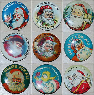 Vintage Santa Claus Christmas Pin collection 9 different Pinback buttons!