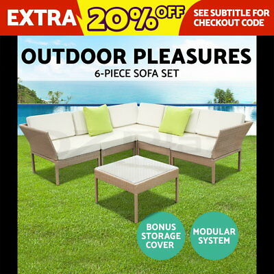 Outdoor Furniture Wicker 6pc PE Rattan Set Garden Lounge Stackable Setting VIBE