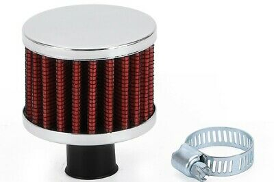 18mm Medium Crankcase Breather Filter RED/CHROME Universal Fitment, Oil Vent