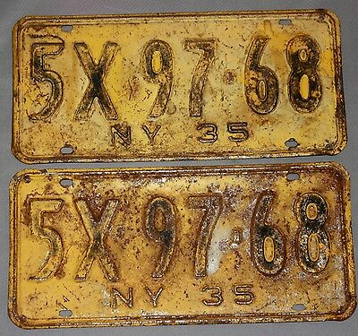 Pair Of Vintage License Plates-New York 1935—5X 97-68