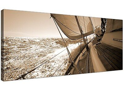 Brown Cheap Canvas Print of Yachts Boats Seascape 1106