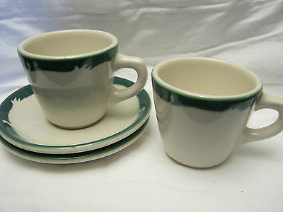 2 sets of cup and saucers SYRACUSE CHINA Restaurant Ware WINTERGREEN green wave