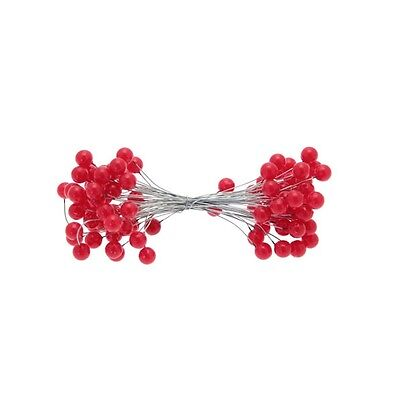 RED WIRED holly berry bunch x 50 wires wreath making Christmas garlands