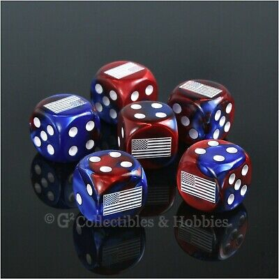 NEW 6 US American Flag Dice Set Gemini Blue Red 16mm RPG D&D War Game D6 USA