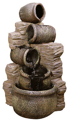 4 Level Jar Water Feature Fountain Cascade Classical Earthenware Pottery Effect
