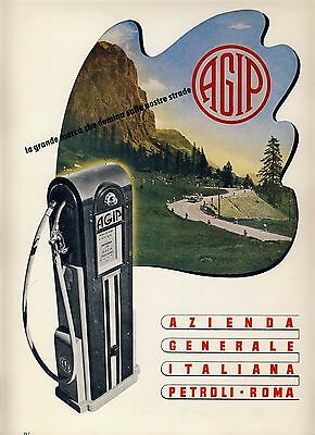 AGIP Petroli / Gas Station Tankstelle * Werbung 1940s Advertisment (Civiltà)