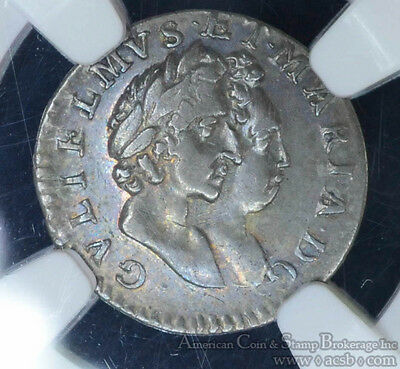 Great Britain 2 Pence 1689 AU53 NGC silver William & Mary Maundy Rare High Grade