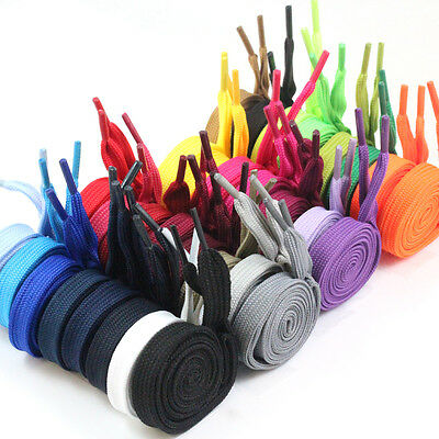 12mm FLAT WIDE SHOE LACES *31 COLOURS & 6 SIZES* TRAINERS SNEAKER WORK PAIR BOOT