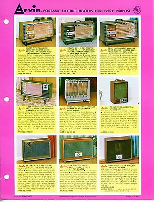 "Vintage ARVIN Ad Sales Sheet: ""PORTABLE ELECTRIC HEATERS"""