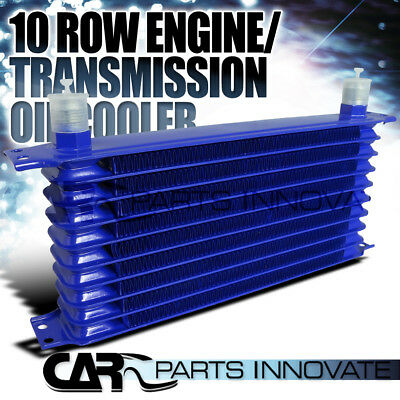 Blue 10-Row 10AN Aluminum Engine/Transmission/Differential Oil Cooler