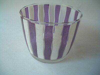 GLASS ICE BUCKET VERTICAL STRIPES 60'S LOOK IN VERY GOOD CONDITION