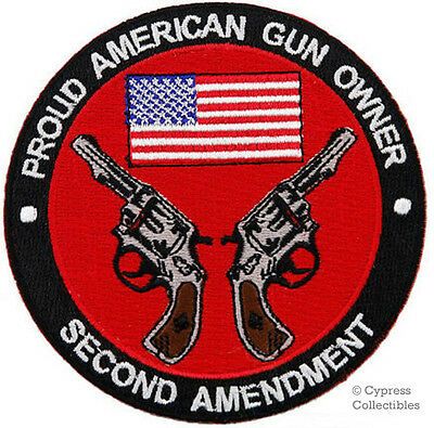 PROUD AMERICAN GUN OWNER EMBROIDERED PATCH REVOLVER 2nd AMENDMENT iron-on
