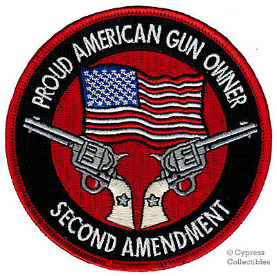 PROUD AMERICAN GUN OWNER EMBROIDERED PATCH REVOLVER new IRON-ON 2nd Amendment