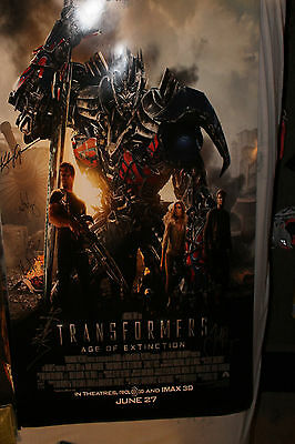 Transformers: Age of Extinction Poster Signed By Cast Mark Wahlberg Spielberg