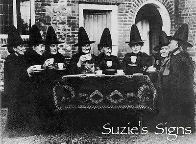 Vintage Fabric Block Vintage Witch Welsh Tea Party Photo Black and White