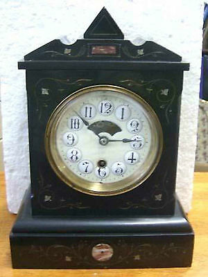 Superb antique HARVARD black slate  mantel clock 1880's RARE.  Working