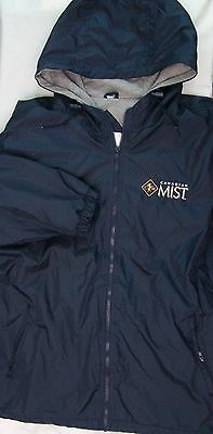 Canadian Mist Whiskey Rain Coat Hoodie Wind Breaker Blue Grey Lined Zip Front L