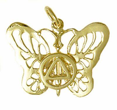 Alcoholics Anonymous Finely Detailed Feather Pendant #470-3 Med 14k Gold Size