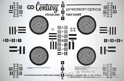 """New Century Precision Optics Lens Focus Test Wall Chart 25""""x38"""" With Instruction"""