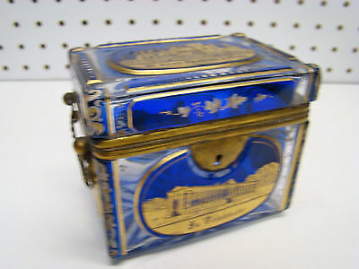 Antique Moser Bohemian Blue Over Clear Case Glass Box Gold Architectural Views