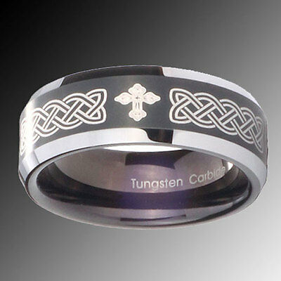 Tungsten Carbide Celtic Cross Black Two Tone Engraved Ring Sz 4-15