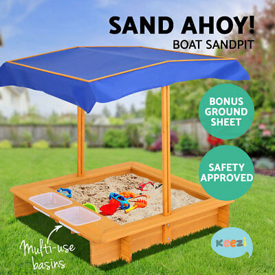Keezi Kids Sand Pit Wooden Outdoor Play Set Canopy Sandpit Toy Box Children