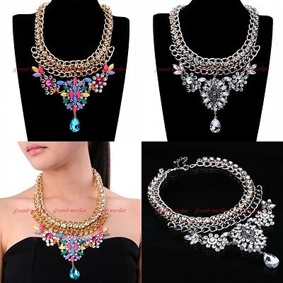 Fashion Crystal Glass Drop Resin Beads Collar Charm Chain Statement Bib Necklace
