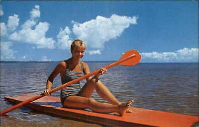 SUP Board Stand Up Paddle Boarding Northern Michigan - 1950s Postcard